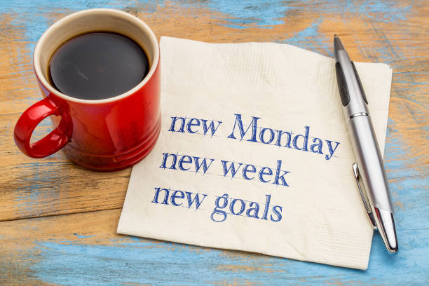 New Monday, week, goals stock photo