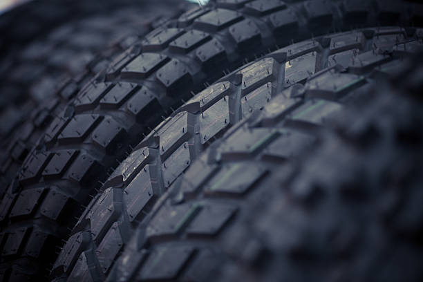 New motorcycle tires stock photo