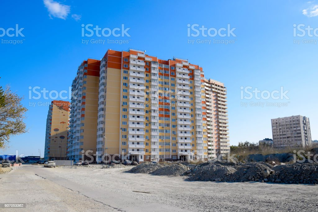 A new multi-storey house. Construction of residential apartments. Floors of the apartment house stock photo