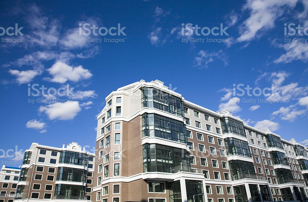 new multi-story apartment stock photo