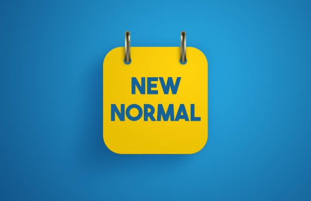 new normal after coronavirus. new normal note paper on the calendar. - new normal foto e immagini stock