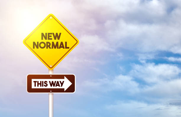 New Normal After Coronavirus. New normal road sign. stock photo
