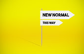 istock New Normal arrow signboard on yellow background. 1251522288
