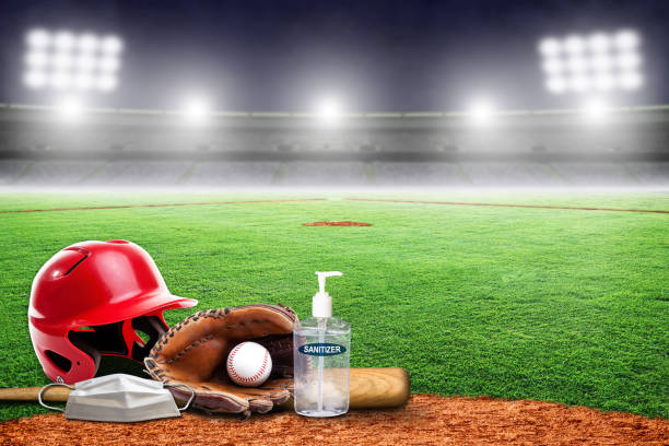 New Normal in Baseball Game Played in Empty Stadium During COVID-19 stock photo