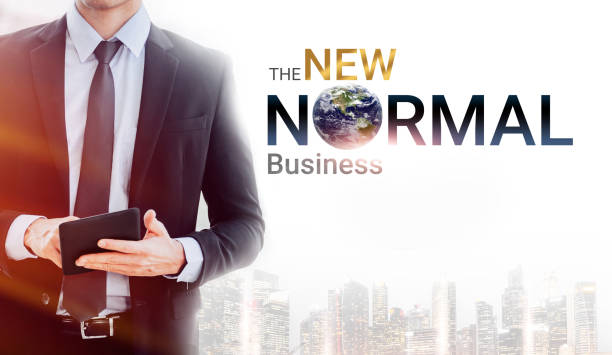 new normal logo and businessman in city on white background - new normal foto e immagini stock