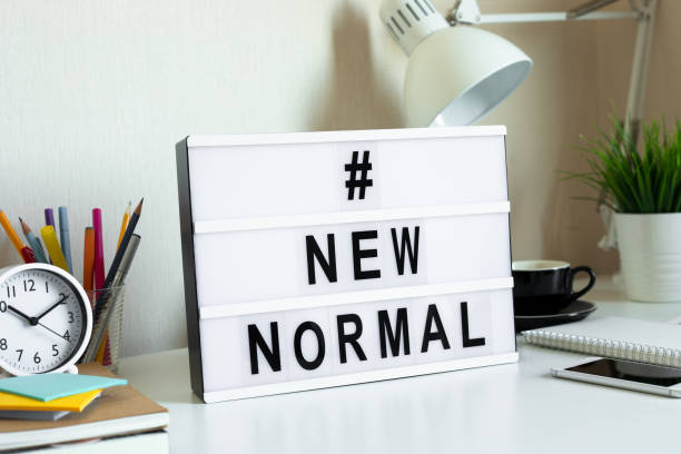 new normal trendy,stay home,work from home,social distancing concepts on covid-19 outbreak situation.safety and health care - new normal foto e immagini stock