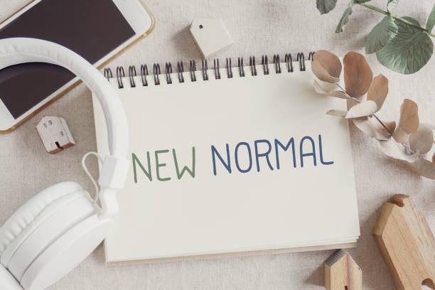Neues normales Wort für disruptive Innovation Art der Arbeit von zu Hause aus, Homeschooling, Online-Meeting, Social-Distancing-Konzept – Foto
