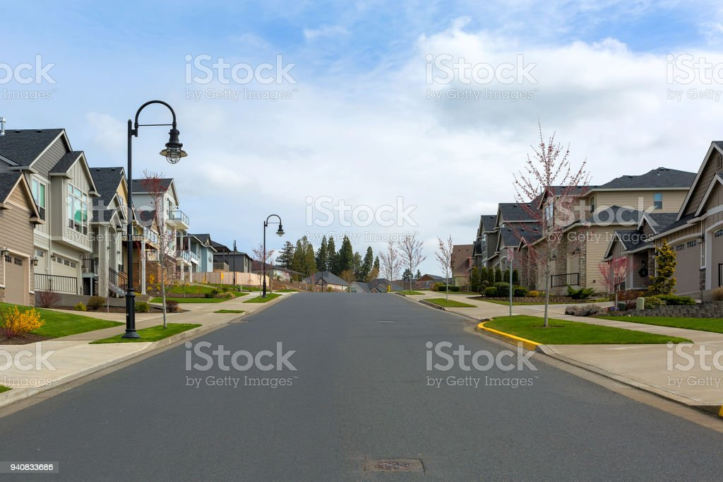 New North American suburban upscale neighborhood homes along street in Happy Valley OR USA stock photo