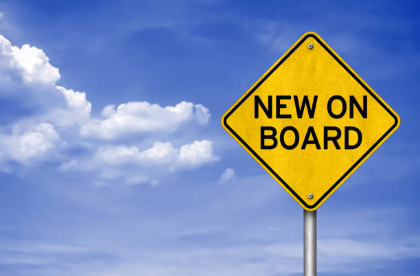 New on Board - road sign New on Board - road sign aboard stock pictures, royalty-free photos & images
