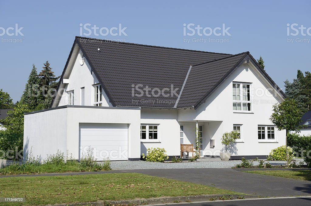 New  one family house with garage stock photo