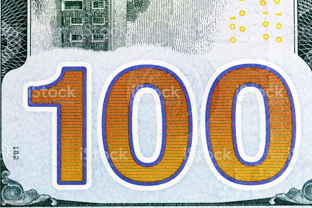 New one hundred dollar bill close-up shot stock photo