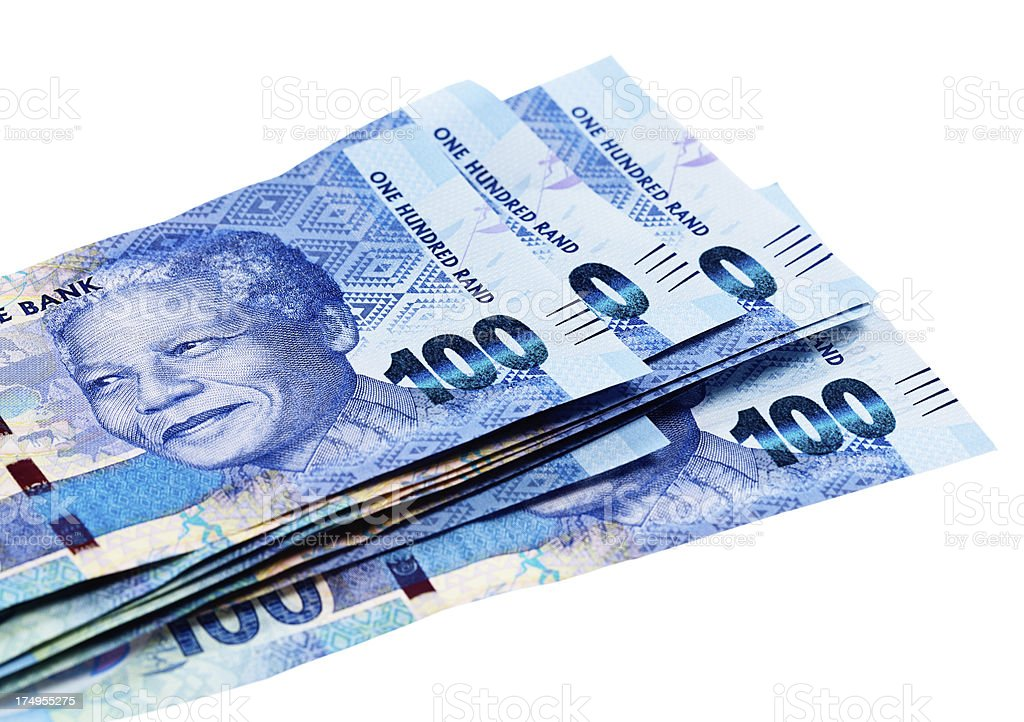 New One Hundred Rand South African banknotes featuring Nelson Mandela stock photo