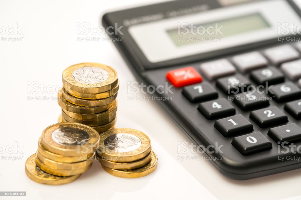Neue ein-Pfund-Münze im Studio, Finance concept – Foto