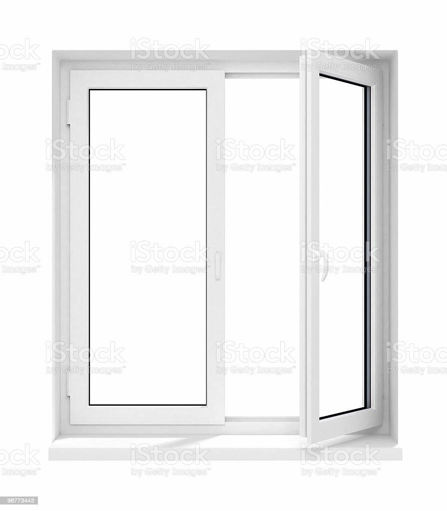 New Opened Plastic Glass Window Frame Isolated Stock Photo