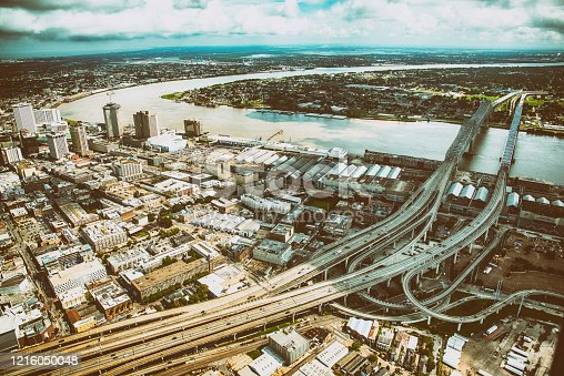 The city skyline and surrounding neighborhoods of New Orleans, Louisiana, from an altitude of about 1200 feet.