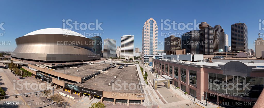 New Orleans and Superdome (panoramic) stock photo