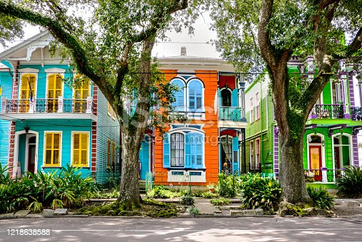 Colorful homes and historic architecture in New Orleans, Louisiana
