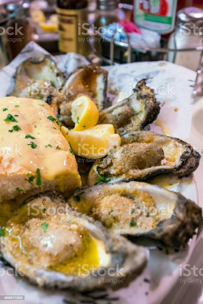 New Orleans Char-Grilled oysters stock photo