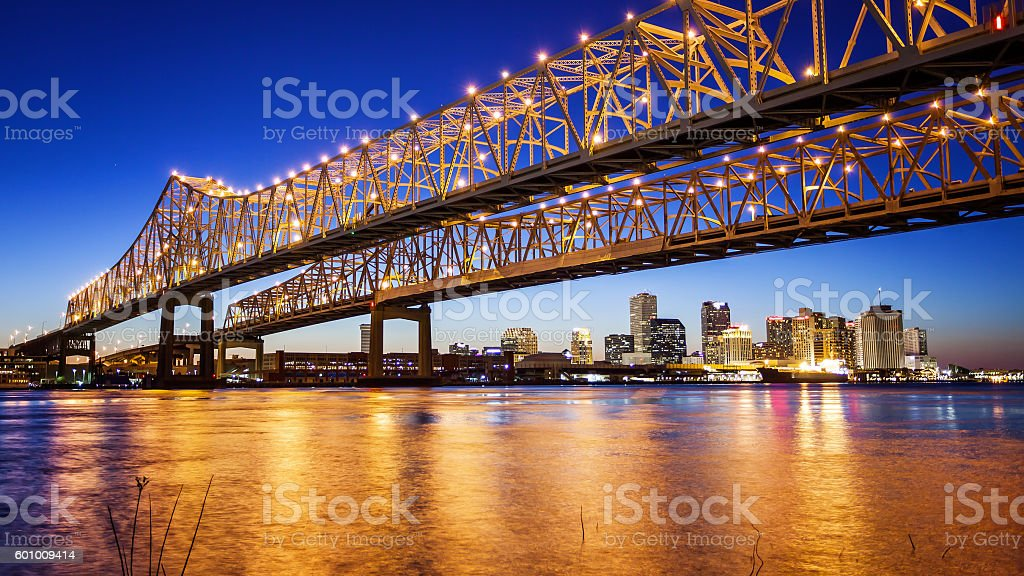New Orleans City Skyline  & Crescent City Connection Bridge, Night stock photo