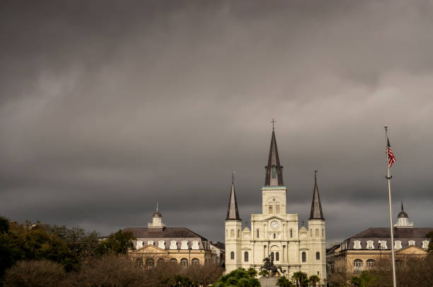 new orleans dark ominous clouds before coronavirus outbreak - mphillips007 stock pictures, royalty-free photos & images