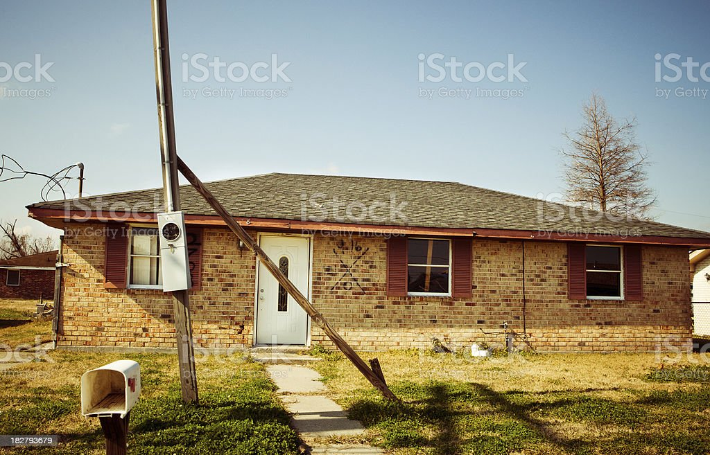 New Orleans house (after Hurricane Katrina) stock photo