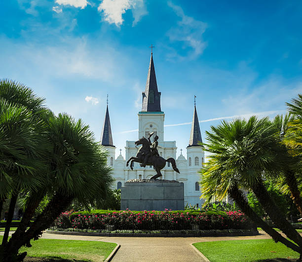 New Orleans Jackson Square and Saint Louis Cathedral stock photo