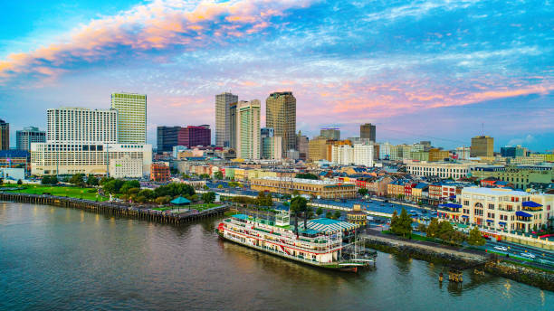 new orleans, louisiana, usa downtown skyline aerial - gulf coast states stock pictures, royalty-free photos & images