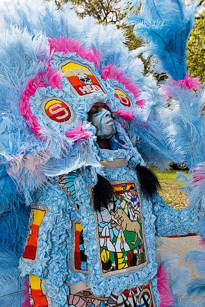 New Orleans Mardi Gras Indian stock photo