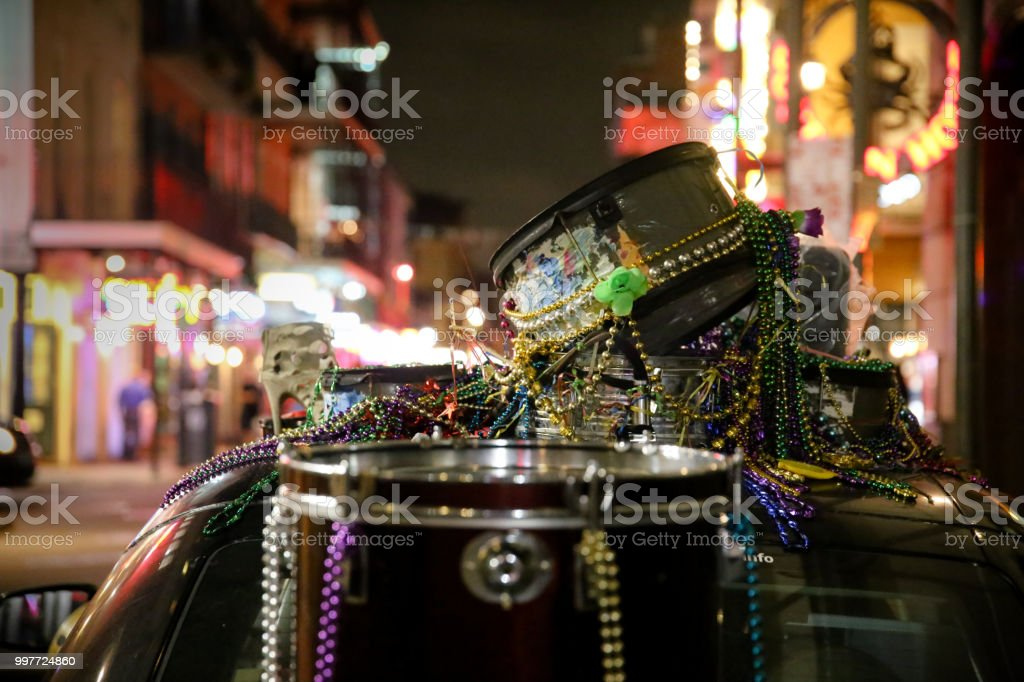 New Orleans Music and Beads Drums, City Lights Background, Copy Space - Royalty-free Bead Stock Photo