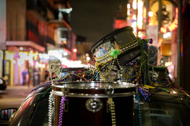 New Orleans Music and Beads Drums, City Lights Background, Copy Space stock photo