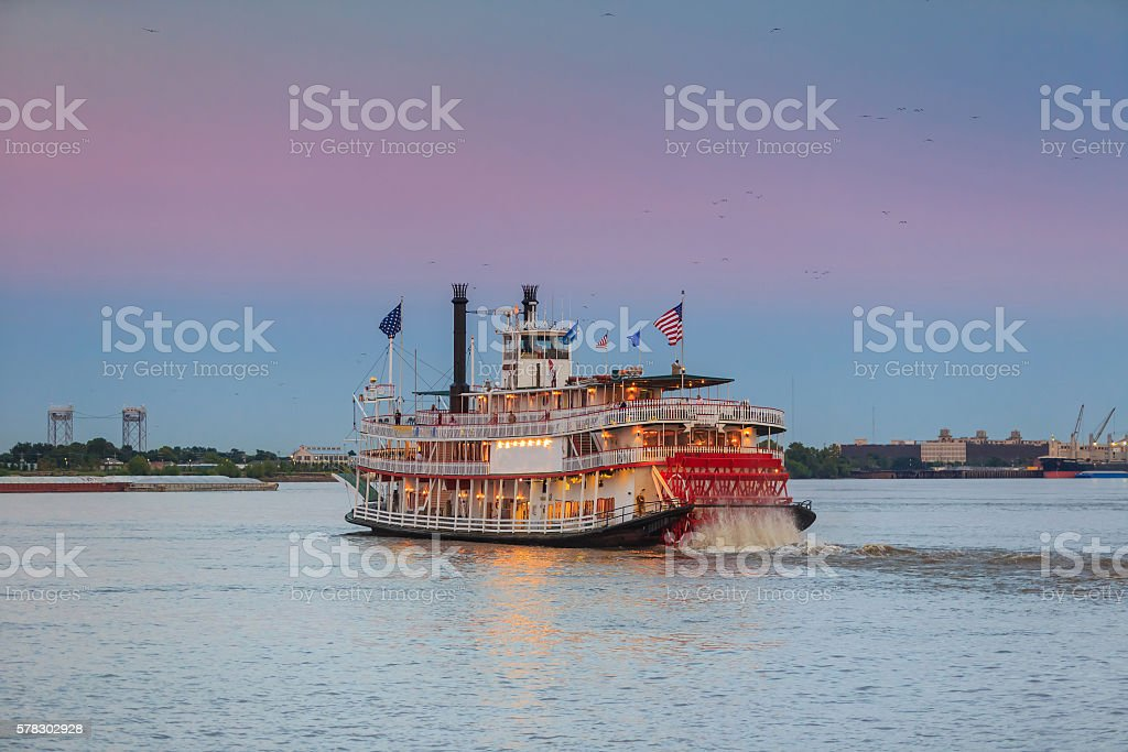 New Orleans paddle steamer in Mississippi river in New Orleans stock photo