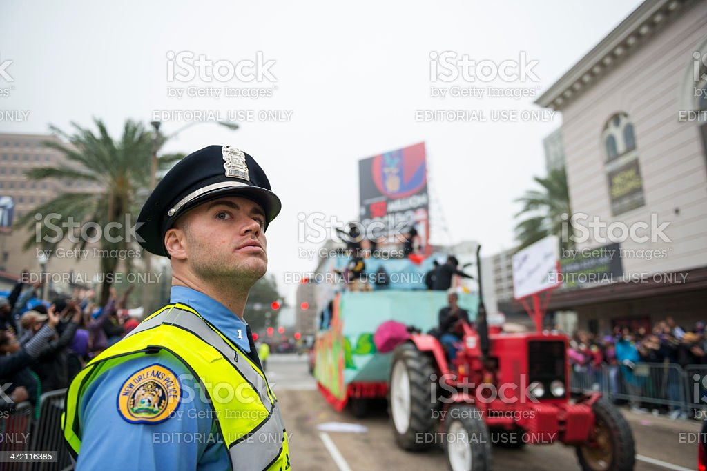 New Orleans police officer on duty stock photo