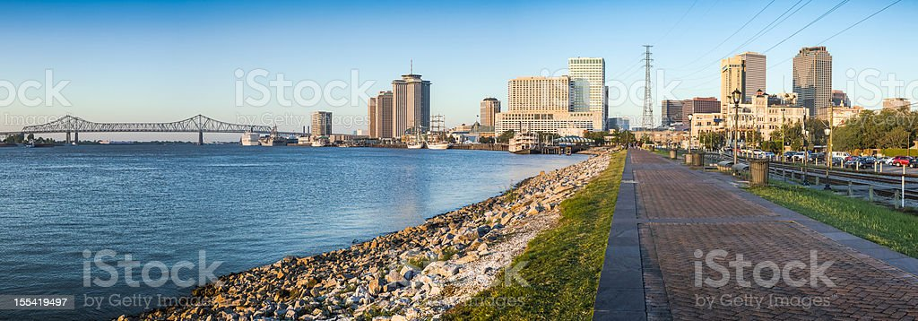 New Orleans River Walk Panorama royalty-free stock photo
