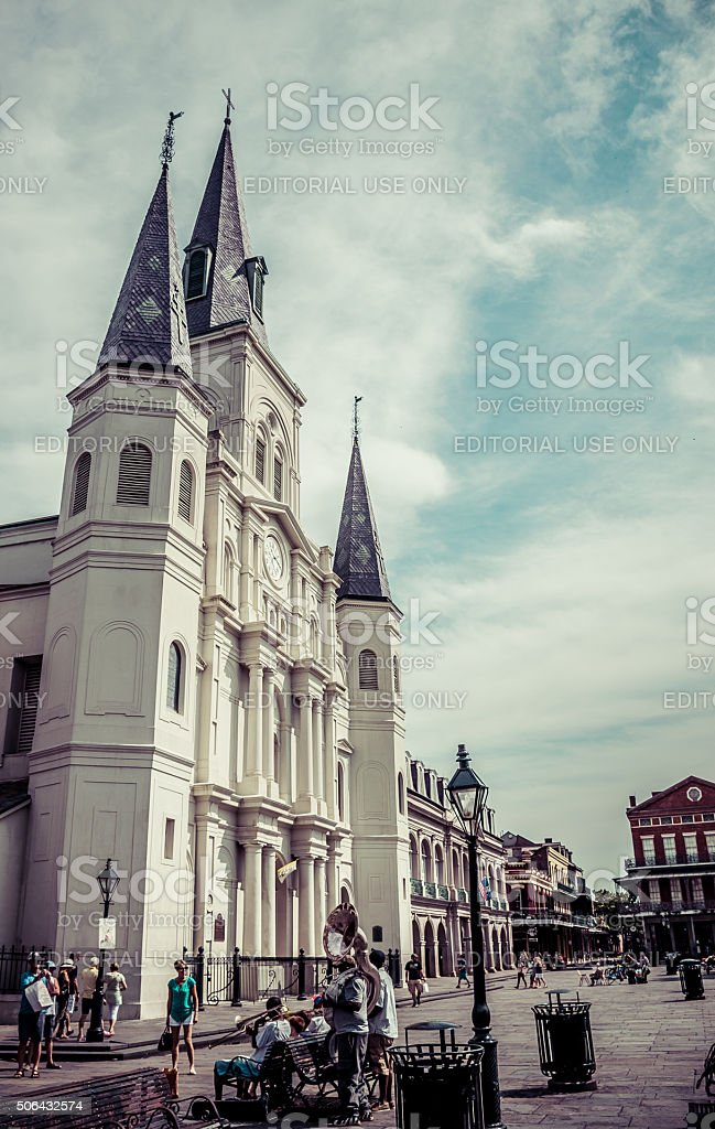 New Orleans Saint Louis Cathedral in Vintage stock photo