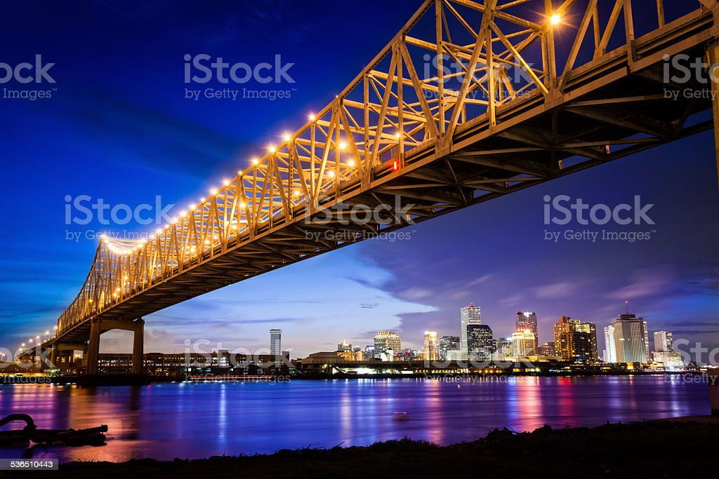 New Orleans Skyline at Night, Louisiana, USA stock photo
