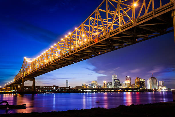 new orleans skyline at night, louisiana, usa - saturated color stock pictures, royalty-free photos & images