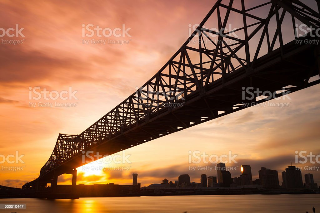 New Orleans Skyline at Sunset, Louisiana, USA stock photo