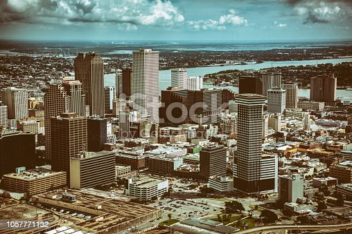 Downtown New Orleans, Louisiana, shot from an orbiting helicopter.