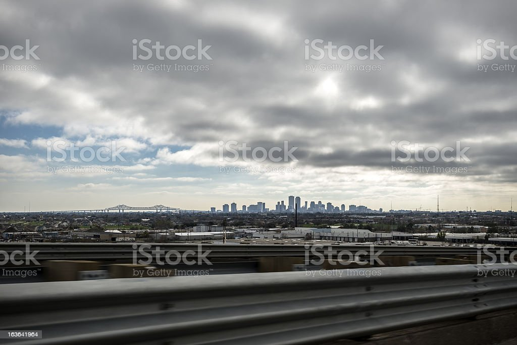 New Orleans skyline from highway stock photo