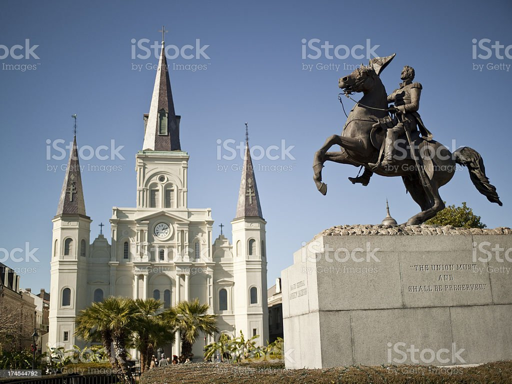 New Orleans, St. Louis Cathedral and General Jackson stock photo