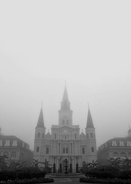 New Orleans St. Louis Cathedral with fog stock photo