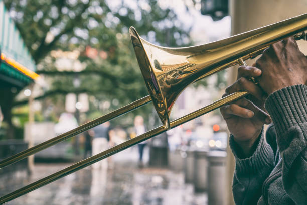 New Orleans Street Jazz Musician in the French Quarter stock photo