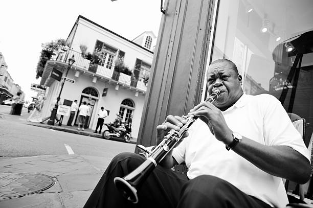 New Orleans Street Musician Playing Clarinet stock photo