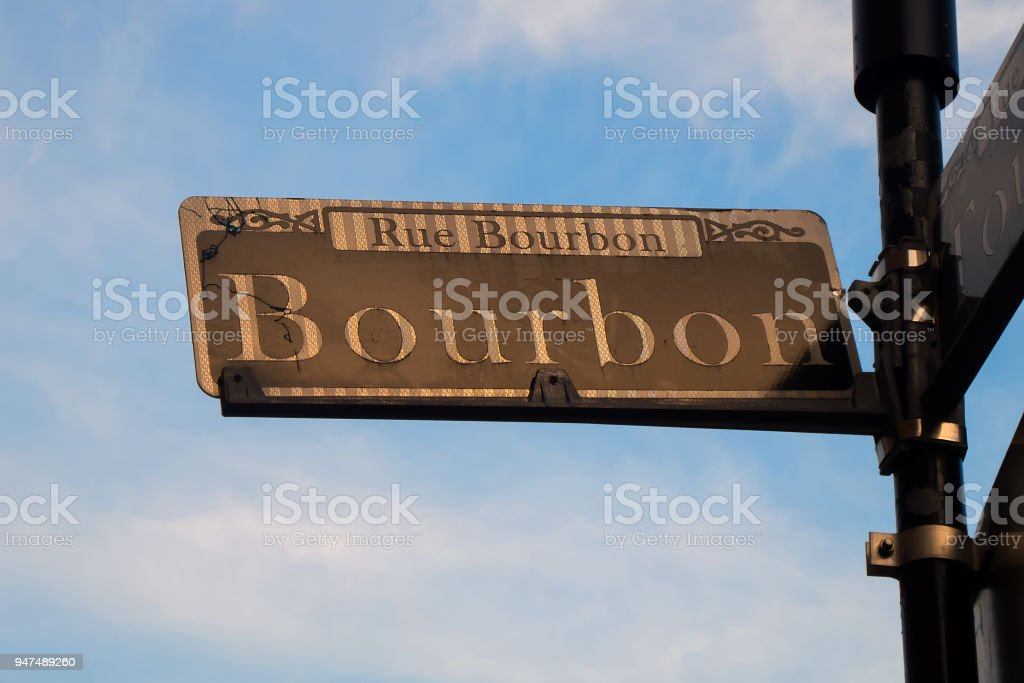 New Orleans: Street Sign with name of famous Bourbon Street in French Quarter stock photo