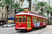 New Orleans, Louisiana, USA - November 18, 2017: One of the many streetcars serving Canal Street in downtown New Orleans making visiting the downtown area easier.