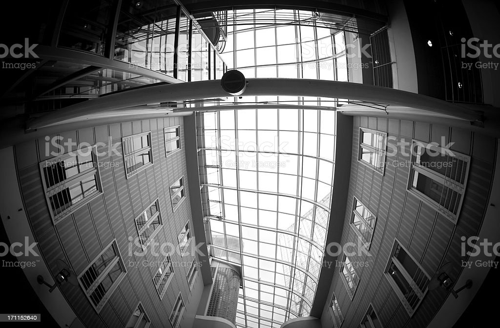 new oslo interior office view, fish-eye lens. royalty-free stock photo
