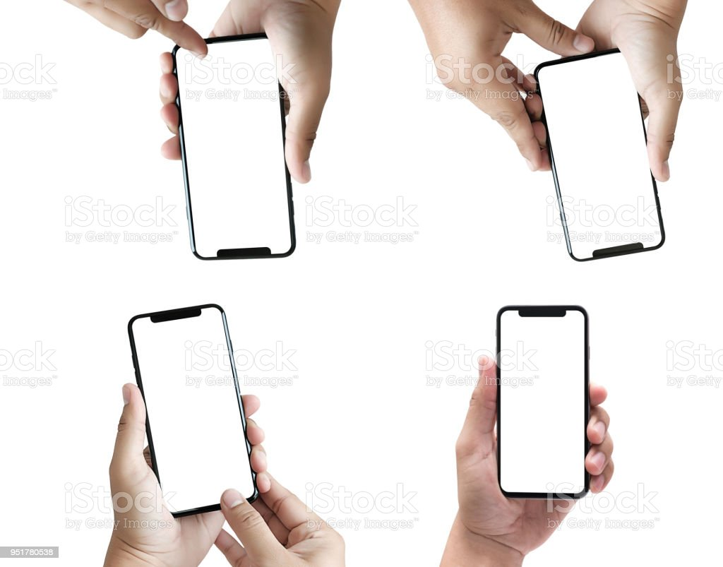 new phone Technology smartphone with blank screen and modern frame less design stock photo