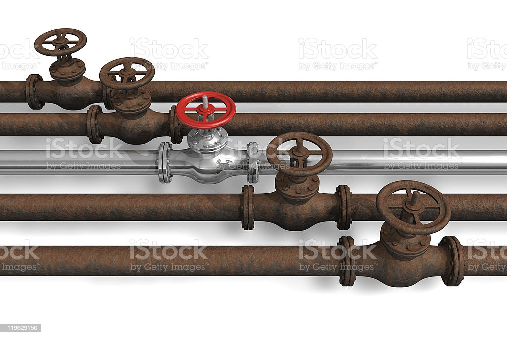 New pipeline within rusty ones royalty-free stock photo