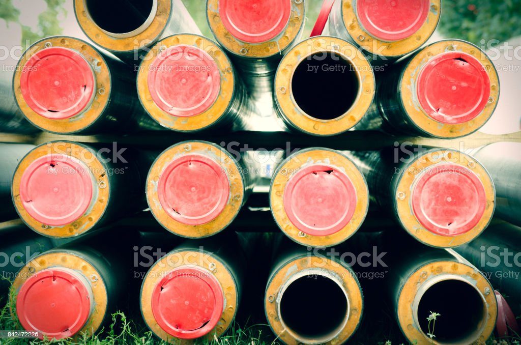 New pipes for district heating pipeline prepared to be installed in the underground stock photo
