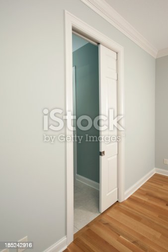 A new pocket door in a house bedroom entrance to bathroom. A pocket door saves space by sliding into the wall rather than swinging open.